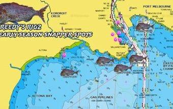 fishing spot, port phillip bay snapper spot melbourne, melbourne snapper, early season snapper spots, gps marks ppb,