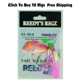 snapper rigs pre made, snapper snatchers, reedys rigz, flasher rig, bait fishing