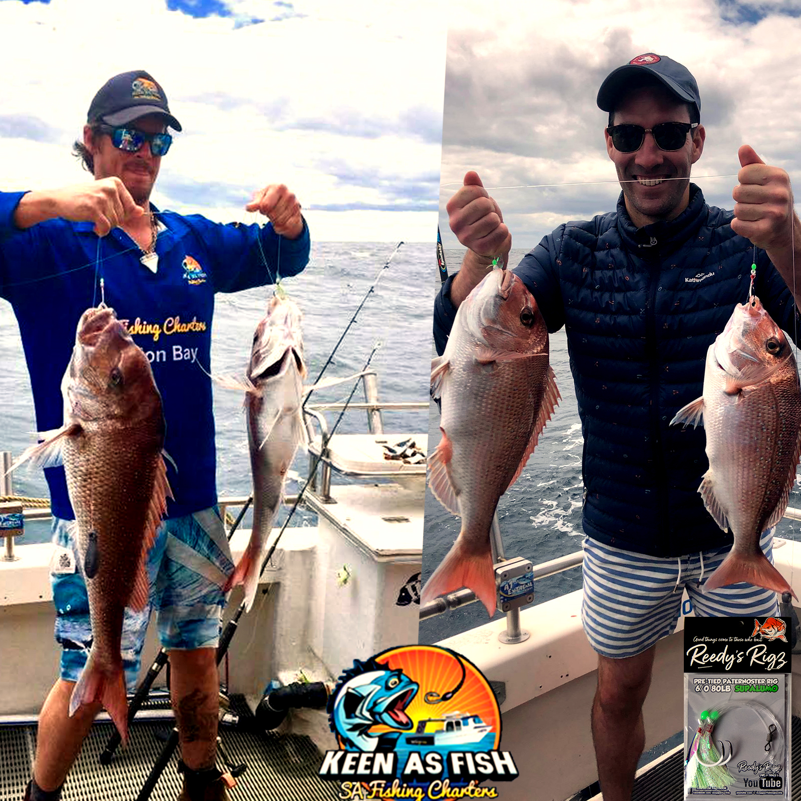 Snapper charter South Australia, reedys rigz, snapper fishing