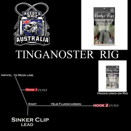 Diagram of a whiting rig, fishing rig diagram, reedys rigs,whitting rig,Ultra rig, Surf Rig